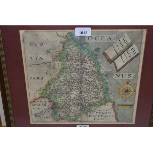 1012 - Antique hand coloured Saxton map of Scotland, framed, 15ins x 18ins overall...