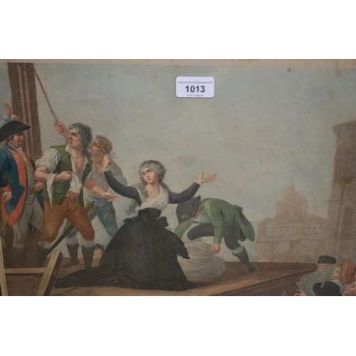 1013 - Rare 18th Century hand coloured engraving depicting the guillotining of Anne Elizabeth, sister of Lo...
