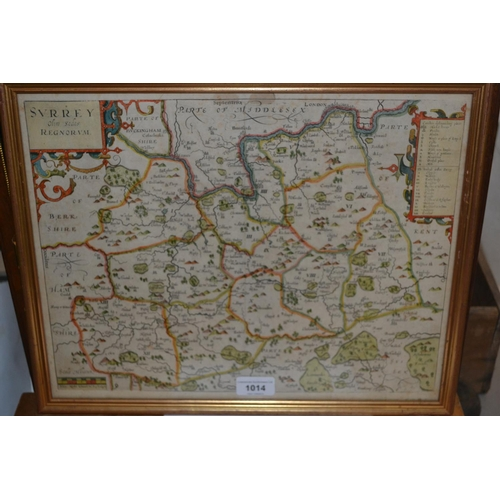 1014 - Antique hand coloured Morden map of Surrey, framed, 13ins x 15.25ins overall, together with a simila...