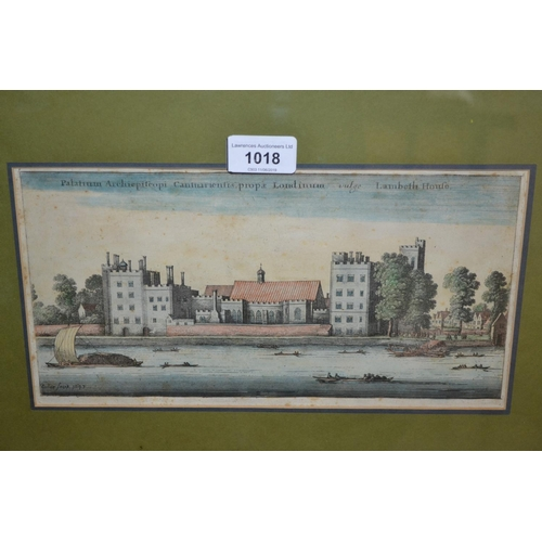 1018 - Seven various coloured prints including 17th Century Lambeth Palace, Sutton Place, Guildford, pair o...
