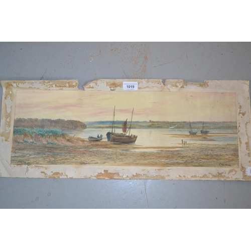 1019 - F. Walters, watercolour, river estuary scene with figures and boats entitled ' Mouth of the Exe ', 7...
