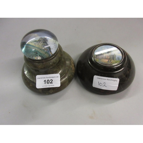102 - Two 19th Century glass and serpentine paperweights, Gloucester Cathedral and St. Michael's Mount...
