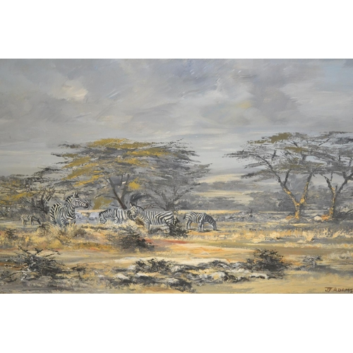 1025 - J.F. Adams, 20th Century oil on canvas, zebra in a landscape, signed, 25.5ins x 39.5ins, framed...