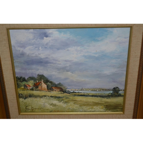 1026 - John Grenville, 20th Century oil on board, rural landscape with distant estuary, signed, 9.5ins x 11...