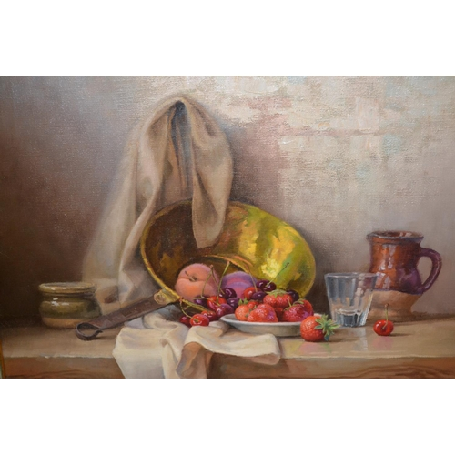 1027 - Robert Chailloux, oil on canvas, still life study of fruit, a brass saucepan and other items on a wo...