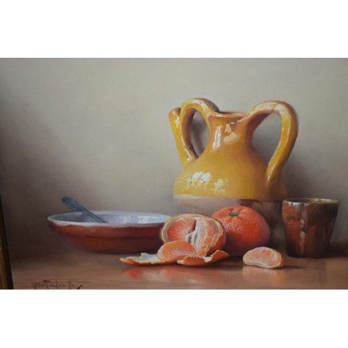 1028 - Robert Chailloux, oil on board, still life study, oranges and pottery on a table, signed, 10ins x 13...