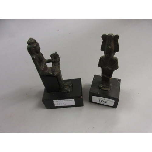 103 - Two antique Egyptian patinated bronze tomb figures later mounted on wooden plinth bases...