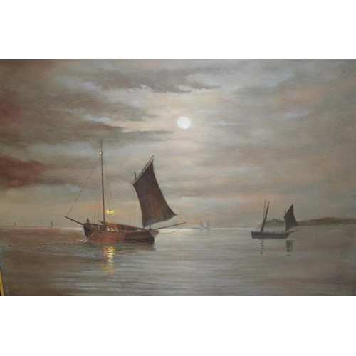 1030 - JamesCollinson, two oil paintings on canvas (one applied to board), sailing vessels at sea and vesse...