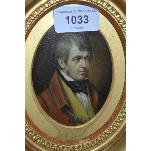 1033 - 19th Century oval gilt framed portrait miniature of a gentleman wearing a red coat and yellow waistc...