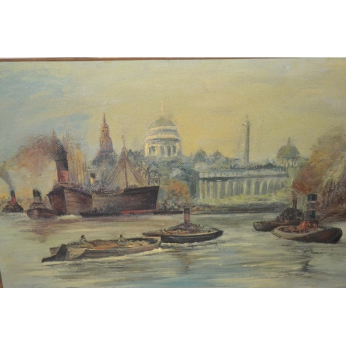 1035 - Joseph Furnell signed oil on board, shipping on the Thames near St. Pauls, inscribed verso ' The Poo...