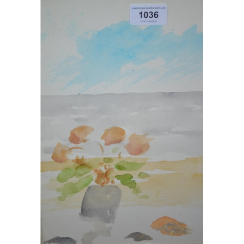 1036 - Modern British School watercolour, study of a pot of flowers by the sea, monogrammed  'M. P. ', 12in...