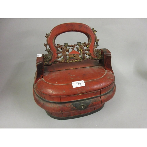 107 - Chinese red lacquered and gilded wedding basket...