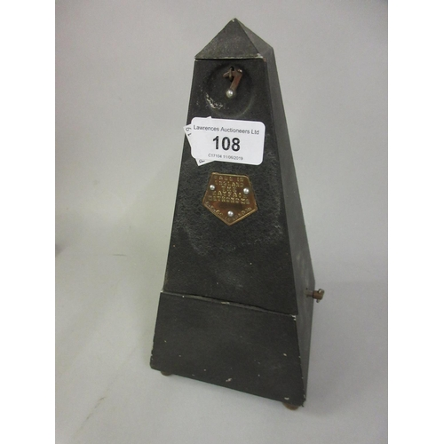 108 - Black toleware metronome, ' The Mayfair ' by A.W. and Co....