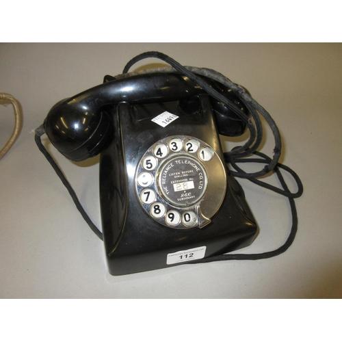 112 - 1950's G.E.C. black Bakelite telephone...