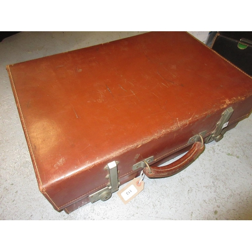 113 - Mid 20th Century Revelation brown leather suitcase...
