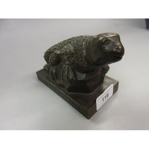 116 - Small dark patinated bronze figure of a salamander inscribed to the base ' Der Goldene Salamander - ...