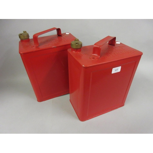 117 - Two Valor red petrol cans with brass screw caps...