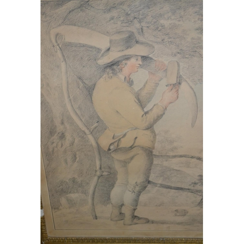 1170 - Gilt framed coloured pencil drawing in the manner of George Morland, farm worker sharpening a scythe...