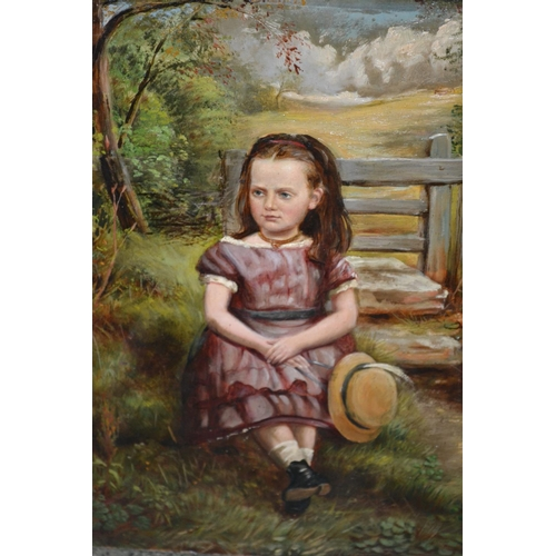 1174 - Late 19th / early 20th Century oil on card, seated young girl holding a hat in a landscape, 12ins x ...