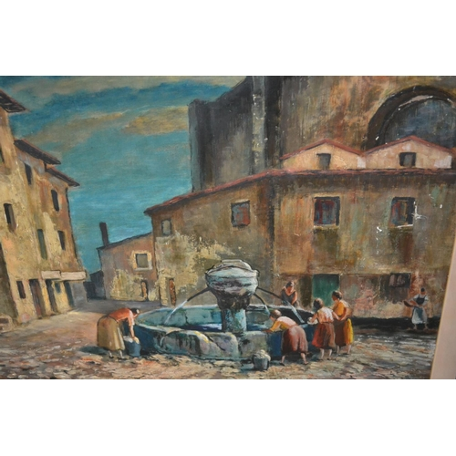 1175 - Grainger Smith, oil on board, figures washing at a Continental town square fountain, signed, 20ins x...
