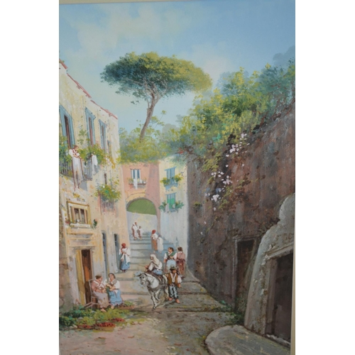 1177 - Y. Gianni, gouache, Naples street scene with various figures, gilt framed, signed, 19ins x 12ins...