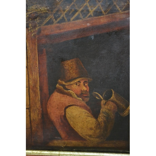 1179 - 19th Century Dutch oil on canvas, figure in a tavern window with tankard, unsigned, in a modern wood...