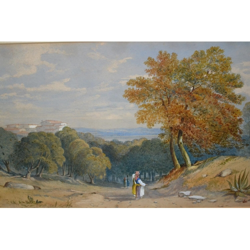 1184 - Attributed to Pierre Antoine Labouchere, watercolour, view in Algeria, gilt framed, 9ins x 14ins...