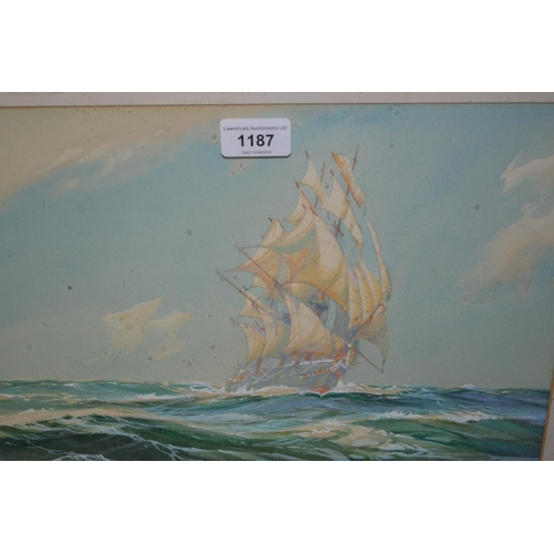 1187 - 1930's Gouache, clipper in high seas, unsigned, inscribed to the mount, ' With a Wind Upon the Beam,...
