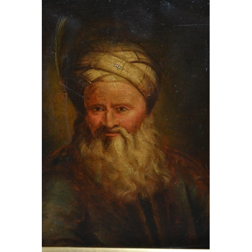 1188 - Late 18th / early 19th Century oil on panel, head and shoulder portrait of a Turk in a mahogany fram...