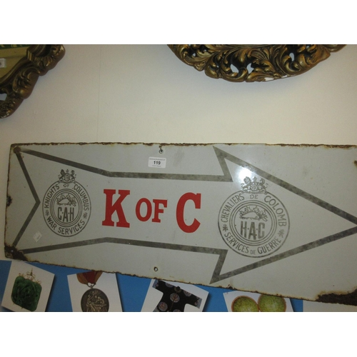 119 - Canadian Knights of Columbus war services enamel sign...