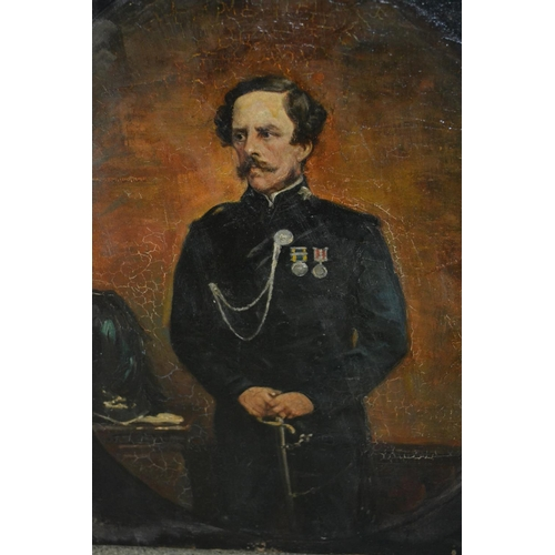 1190 - 19th Century oil on canvas, half length portrait of an officer holding sword, unframed, unsigned (at...