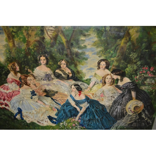1191 - 20th Century oil on canvas, group of 19th Century ladies in a garden, unsigned, unframed, 24ins x 36...