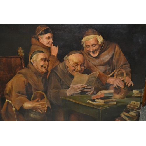 1192 - 19th Century oil on canvas, seated monks reading a book, unframed, unsigned, 18ins x 22ins...