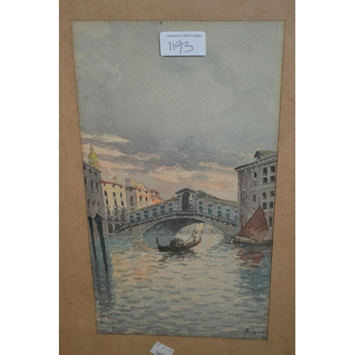 1193 - G. Zanco, group of three watercolours, Venetian canal scenes, signed, 13ins x 7ins, framed...