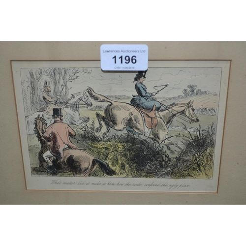 1196 - Set of six framed coloured engravings, hunting scenes...