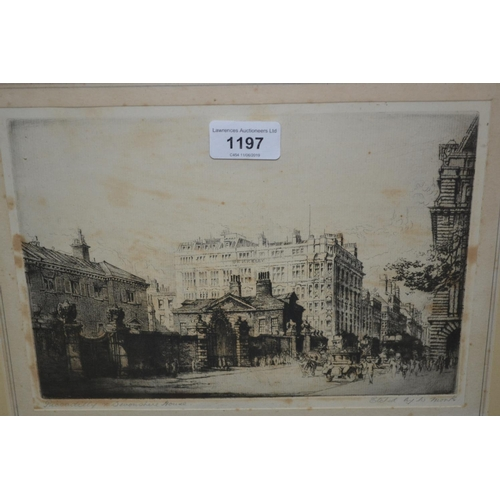 1197 - W. Monk, artist signed etching, Piccadilly, Devonshire House, together with two other signed engravi...