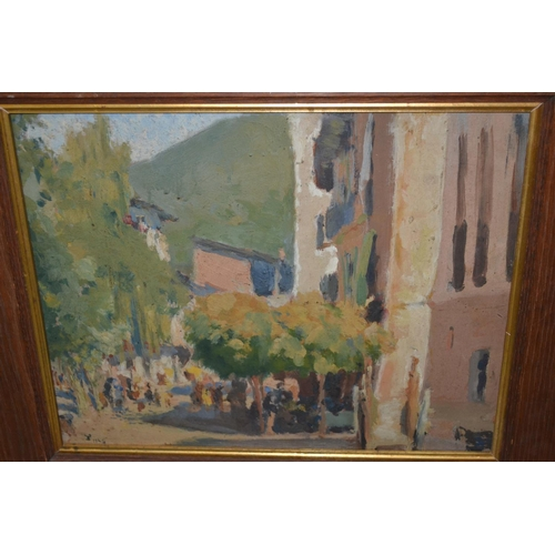 1198 - Anthony Gross, oil on board, entitled ' A Sunny Day in the Pyrenees ', monogrammed and dated 1925, b...