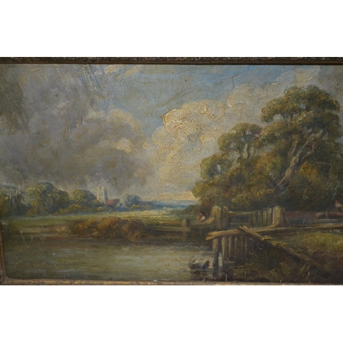 1199 - Early 19th Century oil on  mahogany panel, rural loch scene with figures and distant church, in a sw...