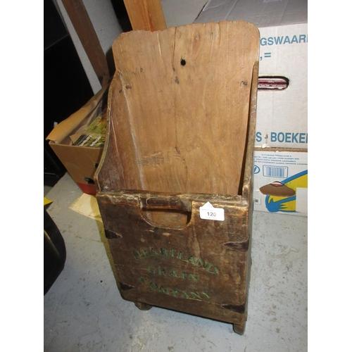 120 - 19th Century American fruitwood grain scoop, named Heartland Grain Company...