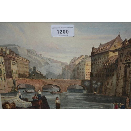 1200 - E.A. Goodall, ?????, Continental town river scene with stone bridge and figures on banks to the fore...