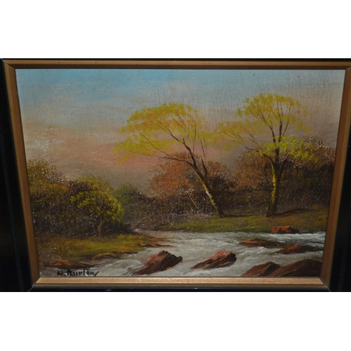 1200A - A. Burton, pair of small oil paintings on board, river landscapes, together with an oil on board, fi...