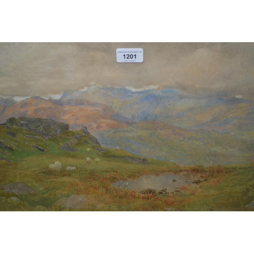 1201 - Harry Goodwin, late 19th Century watercolour, moorland scene with sheep and pool to the foreground, ...