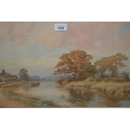 1202 - Fred J. Knowles, late 19th / early 20th Century watercolour, canal scene with figure in a punt being...