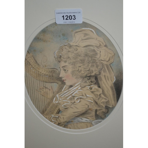 1203 - 19th Century pencil and watercolour sketch of Miss Caroline Campbell playing a harp, oval mounted, b...
