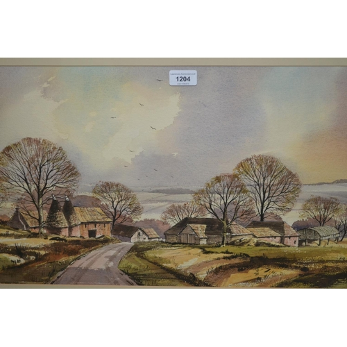 1204 - Late 20th / early 21st Century gilt framed watercolour, Kent country scene with oast houses and farm...