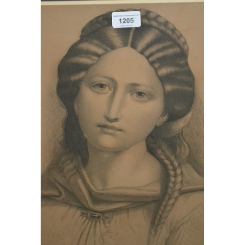1205 - 19th Century pencil study of a young Continental lady, indistinctly signed, dated 1865, in an oak an...
