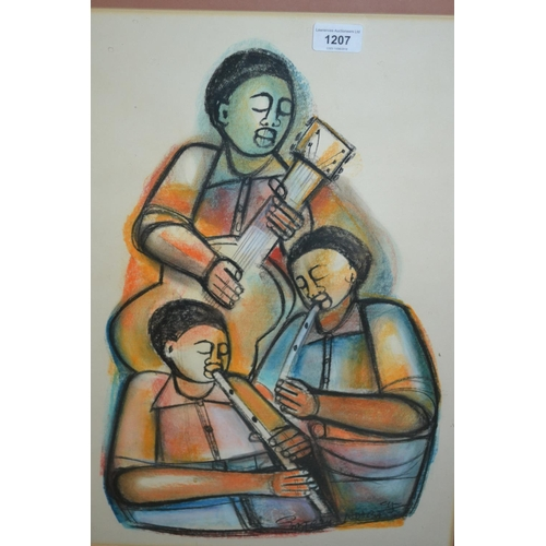 1207 - Godfrey Ndaba, pastel study of three African musicians, signed, 20ins x 14ins...