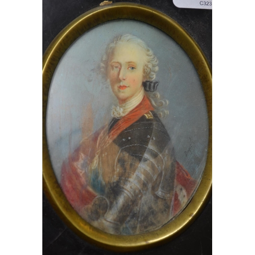1208 - Late 19th Century oval portrait miniature on ivory of Bonnie Prince Charlie (with water damage), sig...