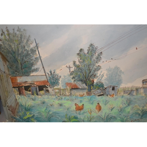 1209 - W. Stanley Moore, unframed watercolour, farmyard scene with chickens, signed, 21ins x 30ins...