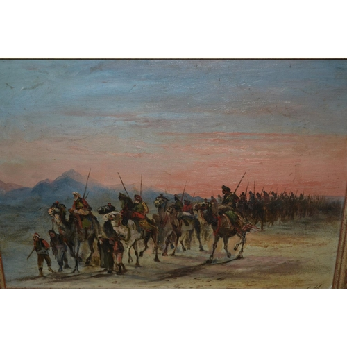1210 - 20th Century oil on canvas laid onto board, Middle Eastern scene of an Arab army on camel back, mono...